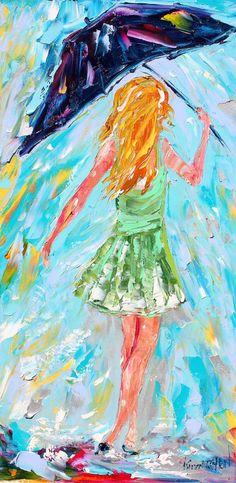 Original oil painting Umbrella Rain Dance by Karensfineart