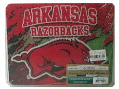 Small Cutting Board ~ Arkansas Razorbacks ~ 8x10 ~ made of tempered glass ~ c... by Highland Graphics, Inc.. $20.49. Dishwasher safe tempered glass cutting board. NCAA Licensed -Artworks Home Accents decorating accessory. Protective clear rubber feet. Can be used as a hot pad counter protector. 8 inches by 10 inches. This tempered glass cutting board is durably constructed and imbued with vibrant artwork and takes up less room. Besides the matching larger size, other produ...