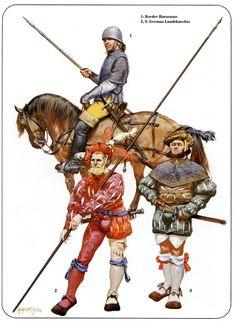 English border horseman with two German landsknecht mercenaries