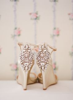 Rhinestone-bedecked satin shoes by Badgley Mischka. Photo by Meredith Perdue Photography.