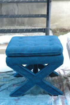 Little Green Notebook: Spray Painting Upholstered Furniture X Bench, Piano Bench, Benches, Spray Painting, Fabric Painting, Upholstered Furniture, Painted Furniture, Little Green Notebook, Hand Painted Fabric