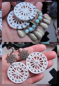 juwelen : MAAK HET ZELF – tut : gehaakt tussenzetsel – with english version ! Moois from & # M (i) e & # 39 ;: jewels: MAKE IT YOURSELF – tut: crocheted insert. / Crocheted Circle for jewelry. Tutorial in English and Dutch. Crochet Earrings Pattern, Crochet Jewelry Patterns, Crochet Accessories, Crochet Necklace, Crochet Art, Love Crochet, Crochet Gifts, Jewelry Crafts, Handmade Jewelry