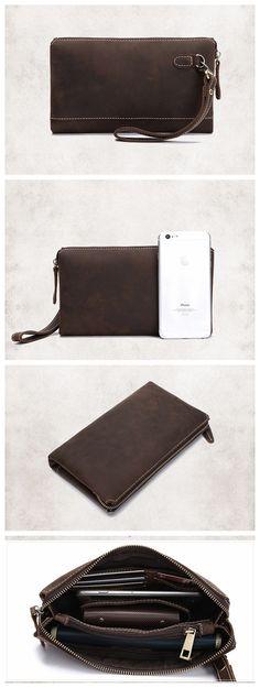 Handmade Genuine Leather Wallet Unisex Long Wallet Money Purse Card Holder
