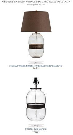 COPY CAT CHIC FIND: Arteriors Garrison Vintage Brass and Glass Table Lamp VS Target CA Glass Lamp Base