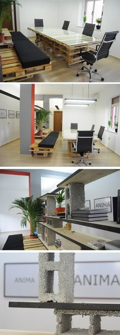 This would be really cool in a large space.  Pallet furniture creates modern office space...
