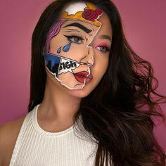 Pop Art Makeup, Face Paint Makeup, Crazy Makeup, Comic Book Makeup, Eye Makeup Designs, Special Makeup, Creative Makeup Looks, Colorful Eye Makeup, Clown Makeup