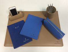 #Beige #leather #deskpad ,#penholder #mobileholder. And some of our #blocknotes from #leathercollection and #velvetcollection