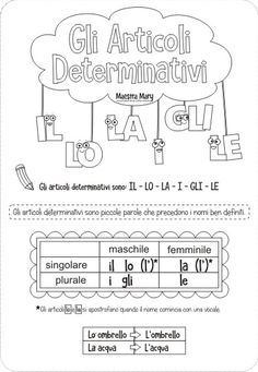 gli articoli determinativi schede Italian Vocabulary, Italian Lessons, Italian Language, Home Schooling, Back To School, Homeschool, Classroom, 3, Teaching