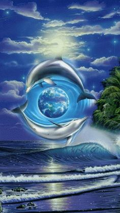 Dolphins going Around the World. Water Animals, Animals And Pets, Dolphins Tattoo, Dolphin Art, Bottlenose Dolphin, Wale, Animation, Ocean Life, Science And Nature