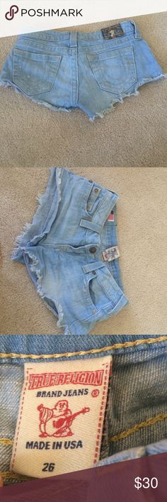 True Religion Light Wash Denim Shorts size 26, distressed style, good condition, low rise and definitely short shorts, inseam is like 1 inch True Religion Shorts Jean Shorts