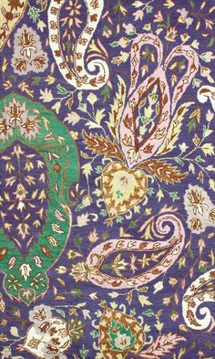 Paisley in Purple, Pink, Brown, Mint Green