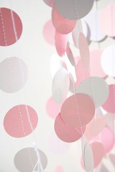 Baby shower party garland - Babies party decoration - Pastel pink & white - New born - Paper garland - Sprinkle shower, First Birthday party