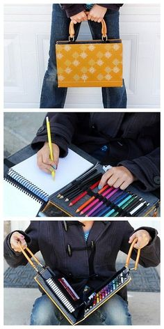 DIY Recycled Book to On the Go Mini Art Studio Tutorial from Crafts Unleashed.