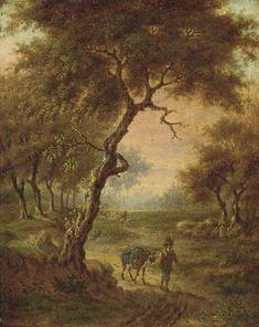 Jan Wijnants - Boslandschap met een man en ezel op een bospad