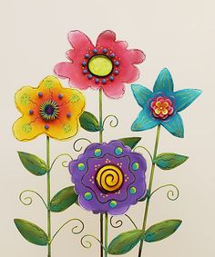 Whimsical Flower Large Stake Set
