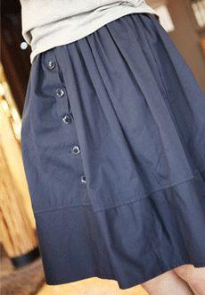 甜美优雅纯色纽扣装饰休闲半身裙  SFSELFAA0011909