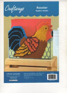 ROOSTER  NAPKIN  HOLDER    plastic canvas   PATTERN   (#567) #fromakit