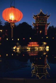 Lanterns on water Botanical Gardens Montreal