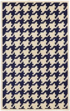 Navy Blue Houndstooth Area Rug