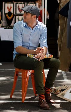 Rolled up pants , Stripe socks, blue shirts / Mens Street Fashion I don't know about rolled pants but Chad would rock those socks and a blue shirt
