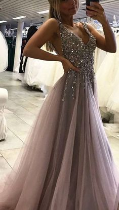 Unique Prom Dress,Grey Sparkly Beaded Prom Dress with Slit,Sexy Long Formal Dresses high heels dress outfits