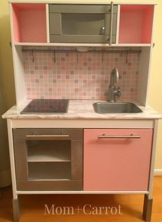Ikea Duktig Play Kitchen Makeover - Great Gift Idea http://MomandCarrot.com