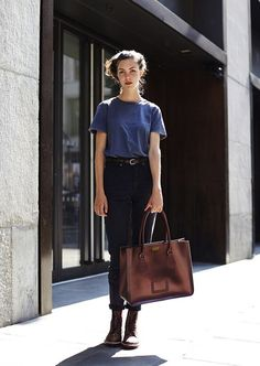 I love the Bag/Briefcase, but not the combat boots, and I love the blue of the blouse, it looks like silk but it is probably cotton.