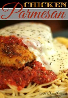 This Chicken Parmesan is a favorite! What could possibly be better than a crusted chicken breast covered in savory red sauce and melted cheese?
