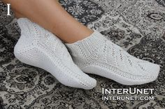 Free Knitting Patterns For Bed Socks Free Knitting Patterns For Bed Socks. Free Knitting Patterns For Bed Socks Three Stories High Cable Twist Bed Soc. Knitted Slippers, Crochet Slippers, Knit Crochet, Knit Lace, Knitting Patterns Free, Free Knitting, Knitting Socks, Knit Socks, Two Needle Socks