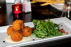 Tomi's Mozzarella Filled Arancini with Rocket