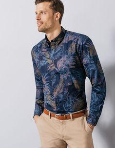 chemise coton à fleurs slim fit  - Brice