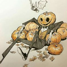 Cool Halloween pumpkin illustration art , perfect for inktober, awesome vintage hipster Hollywood a slapstick style Corytis: Art And Illustration, Halloween Illustration, Illustrations, Hipster Illustration, Watercolor Illustration, Halloween Drawings, Halloween Art, Halloween 2019, Kunst Inspo