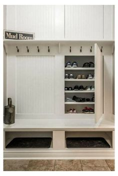 Coat And Shoe Storage, Entryway Shoe Storage, Bench With Storage, Closet Storage, Locker Storage, Entryway Ideas, Laundry Storage, Hidden Storage, Storage Benches