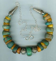 by Anne Marie | Old amazonite beads and antique/ancient genuine Baltic amber beads with sterling silver | BeadArt Austria.    SOLD