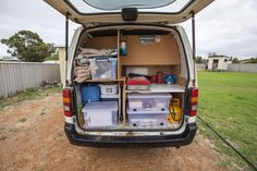 Camper conversion | Toyota Hiace (standard wheelbase) | This was our campervan that we lived in for 7 months driving around Australia. We received lots of compliments on our 'kitchen' (pictured), as it's so organised and functional - everything has its place and it utilises the limited space so well.
