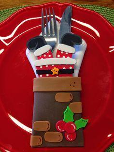 toys - Reciclagem divertida e artesanato: Papai Noel na Chamine - Caixinha e Porta Talheres