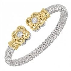 Alwand Vahan 6mm Sterling Silver And 14K Gold Bracelet with Diamonds - Alwand Vahan - Jewelry