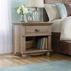 Salt Oak Wood Night Stand Tabke with Drawer and Open shelf Modern design  