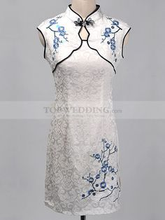 White Cotton Short Sheath Cheongsam with Flower Embroidery