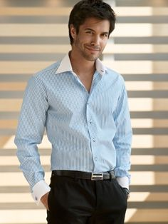 ETRUSCA Shirts Menswear Men's Shirts Made in Italy Light Blue