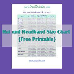 Crochet Headband Size Chart, Hat Size Chart, Headband Size Chart, Hat and Headband Size Chart, Crochet Resources, Free Printable