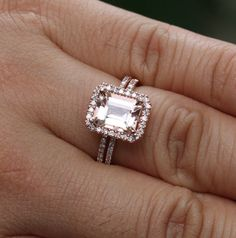 14k Rose Gold 9x7 Morganite Emerald Cut Engagement Ring and Diamonds Wedding Band set
