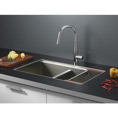 Ruvati RVH8350 Undermount 16 Gauge 33 Inch Kitchen Sink Double Bowl