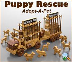 "Plan Set Description: Puppy Rescue with Trailer is 21-1/2"" L x 9-3/8"" H x 4-1/2"" W. Includes plans for all shown (6 doggies, kitty and donkey). Plan set includes signage graphics. Print to your home printer and apply with spray adhesive. Finish with clear coat. Color 8-1/2"" x 11"" pages with black & white pattern pages."