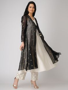 Black-Ivory Foil-printed Silk Chanderi Kurta with Jacket (Set of Indian Attire, Indian Wear, Indian Outfits, Kurta Patterns, Dress Patterns, Kurta Designs Women, Blouse Designs, Pakistani Wedding Outfits, Indian Gowns Dresses
