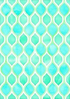 Watercolor Pattern in Aqua, Lime & Mint on White Stretched Canvas