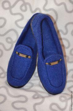 Обувь ручной работы. Ярмарка Мастеров - ручная работа. Купить Женские валяные туфли-мокасины. Handmade. Тёмно-синий
