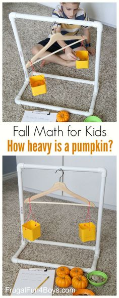 Fall Math for Kids: How Heavy is a Pumpkin? Build a PVC balance for comparing weights of objects. #mathforkids
