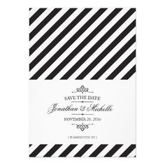 Black and white vintage stripes Save the Date