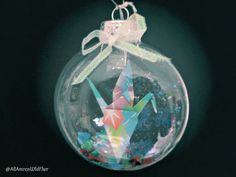 Origami Crane Glass Christmas Ornament, by AmrcnWldFlwrDesigns on Etsy, $12.00